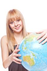 beautiful girl with earth