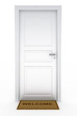 Door with welcome doormat
