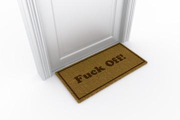 """Door with """"fuck off"""" doormat"""