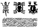 Fantastic animals and birds of Aztecs poster