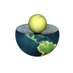 tennis ball on earth hemisphere isolated on a white
