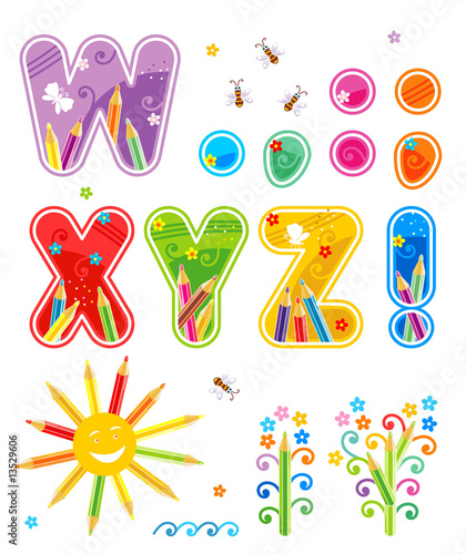 Abc set letters W - Z, marks of punctuation, design elements