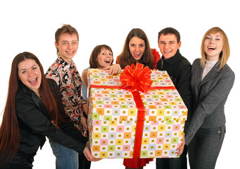 Group of people and gift box.