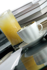 Juice, coffee and books