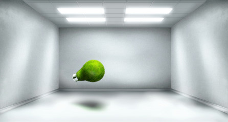 Spacious room with bright green bulb captured inside