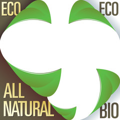 Eco and all natural corner label stickers with peeling leaves