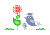 Young bird taking Biology lessons at the summer meadow poster