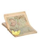 Paper boat and old geographical atlas isolated on white poster