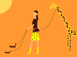 A girl walking with her ferrets and giraffe