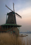 Old wind mill in Zaanse Schans in Netherlands poster