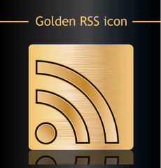Golden RSS icon.