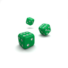 lucky green dice on white background