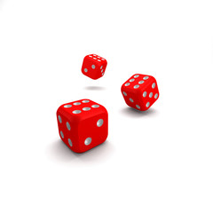 lucky red dice on white background