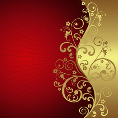 Elegant background with red and golden flowers
