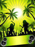 Fototapety Summer disco-party on green background