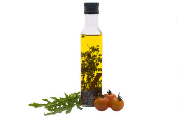 Olive oil, cherry-tomato and garden rocket