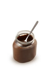 Chocolate in jar with spoon. W / Path / See also similar photos.