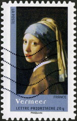 Lettre prioritaire. France. Vermeer. Timbre postal.