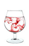 Full glass with red stains