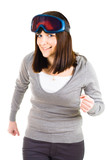woman pretending to be skier poster