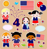 Fourth of July. Set of children. poster