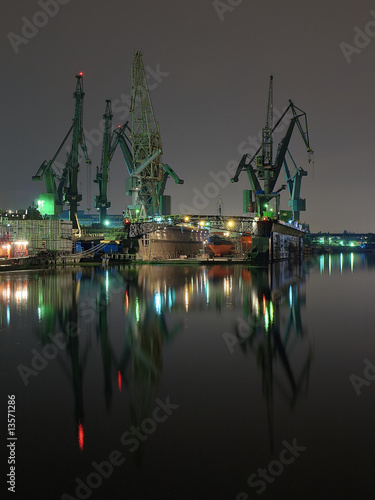 And cranes of Gdansk shipyard, Poland.