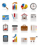 Business and Office Realistic Internet Icons - Vector Icon Set 3 poster