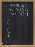 reducing carbon footprint on blackboard poster