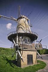 dutch windmill blue sky