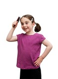 Cute little girl with pigtails brush her hair isolated poster