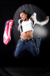 afro-american dancer in jump with USA flag
