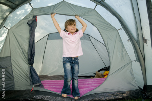 Little girl in tent