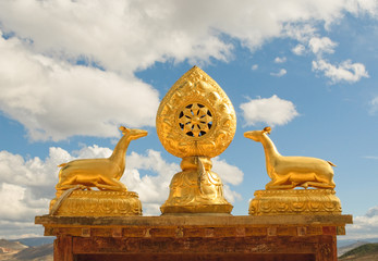 architectural details of songzanlin tibetan monastery, shangri-l