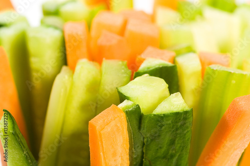 Cucumber, carrots and celery