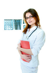 Woman doctor portrait with x-ray films on background