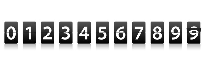 Information board style Flip Down Numbers