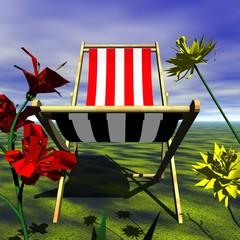 chaise longue en pleine nature