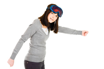 woman pretending to be skier