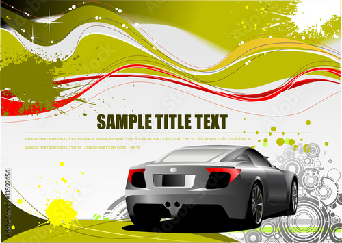 Green and Yellow grunge background with car image