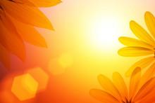 "Постер, картина, фотообои ""Sunshine background with sunflower details"""