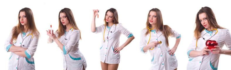 sexy nurse isolated on white, composite