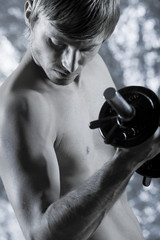handsome man body building