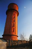 water tower on sundown lighting poster