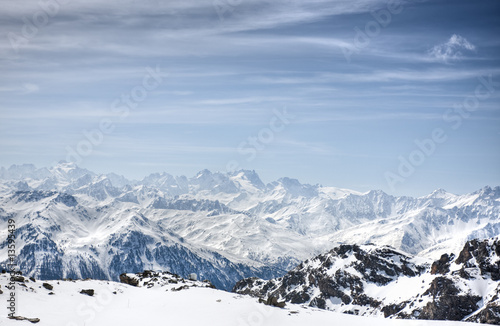 Winter Alps landscape from ski resort Val Thorens