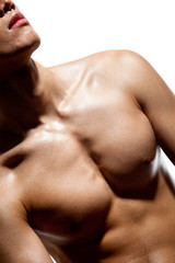 muscular body of young man