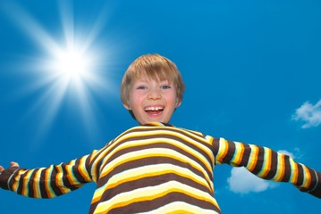 Happy boy on sunny day