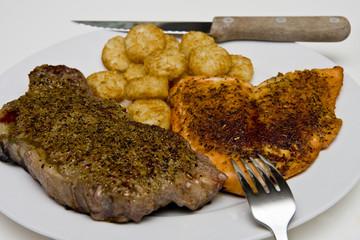 Steak Salmon and Potatoes