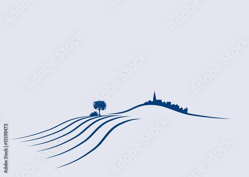 Vektor Agrar Landschaft mit feldern, Hügeln und Dorf - 13598473