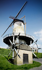 pure dutch windmill blue sky holland