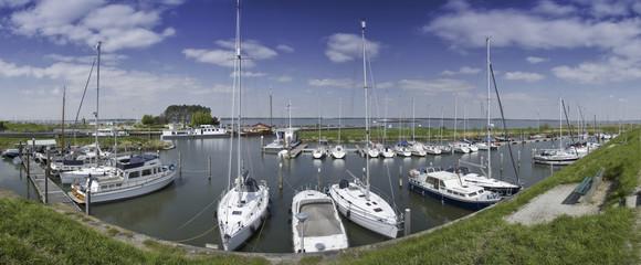 dutch harbor panorama boat view blue sky